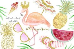 Watercolor summer elements with gold by WoodLandFoxy on @creativemarket