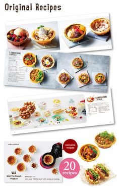 The machine comes with 20 original recipes. Japan Has Invented A Waffle Bowl Maker And The World Is Forever Changed Waffle Bowl Maker, Waffle Maker Recipes, Pancakes And Bacon, Chicken And Waffles, Sweet Potato Breakfast, Eat Breakfast, Waffle Taco, Breakfast Sandwich Maker, How To Make Waffles