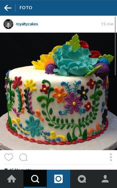 Color & flowers mexican cake