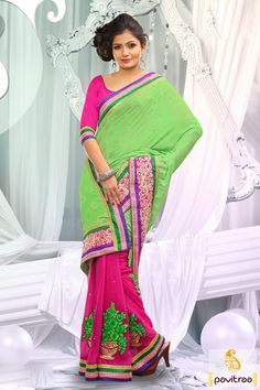 Embellished with lace patti, resham and embroidery works. The jacquard, georgette and cotton made sea green embroidery party wear Saree is attractive.