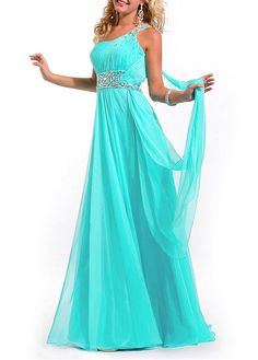 Beautiful Chiffon A-line One Shoulder Neckline Floor Length Prom Dresses