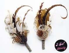 Steampunk Boutonnieres. I love the idea of gears on top of flowers.