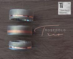 Titanium Wedding Rings Rose gold and titanium mens wedding rings - Antique Wedding Rings, Cool Wedding Rings, Custom Wedding Rings, Wedding Rings Rose Gold, Wedding Ring Designs, Wedding Stuff, Titanium Wedding Rings, Titanium Rings, Black Rings