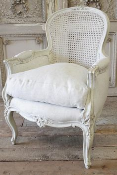 Vintage Cane Back Bergere Chair from Full Bloom Cottage French Furniture, Shabby Chic Furniture, Rustic Furniture, Vintage Furniture, Furniture Upholstery, Upholstered Chairs, Furniture Styles, Furniture Design, Furniture Websites