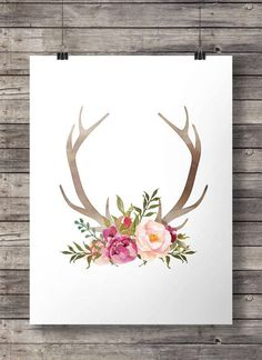 Watercolor Antlers and flowers print  - Printable Antlers wall art - digital print