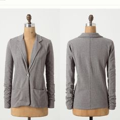 "Anthropologie Spalding Sweatshirt Blazer This is a great cotton blazer by Hartford, purchased at anthropologie.  It is a fun & casual take on the blazer in a great grey color.  Two pockets in front.  Size is ""2"" which is similar to a medium Anthropologie Jackets & Coats Blazers"
