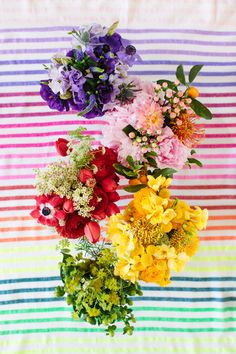 Oh Joy! Gorgeous spring rainbow flowers on a beautiful rainbow blanket. Perfect for picnics!