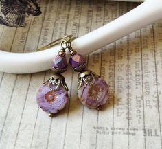 Purple Earrings, Lavender Earrings, Flower Earrings, Victorian Earrings, Czech Glass Beads, Womens Earrings, Unique Earrings, Gifts for Her by SmockandStone on Etsy