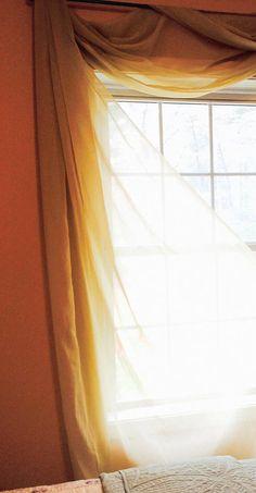 Decorative Honey Tone Sheer Scarf Valance 60 x Vintage Curtains, Shabby Chic Curtains, Diy Curtains, Sheer Curtains, Scarf Valance, Window Coverings, Honey, Windows, Romantic