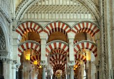 The Great Mosque of Cordoba -:The giant arches over a 1,000 columns are the most interesting sights inside, as well as the Byzantine mosaics in the mihrab.