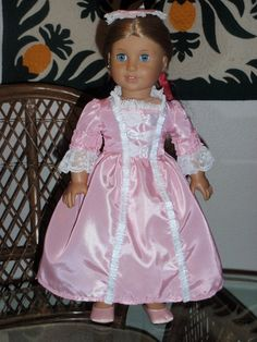 1770s Colonial Gala Gown and Cap for by alohagirldollclothes, $33.50