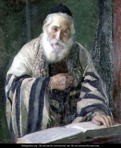 Very kind face of a man in his Tallis. Painting