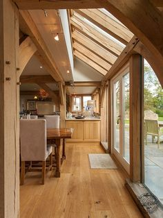 Oak Framed Kitchen Diner with Glazed Roof Panels and Timber Floor by Carpenter…