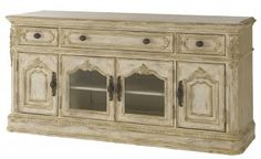 American Drew Jessica McClintock Boutique Entertainment Console in White Veil 217-585W - TV Stands