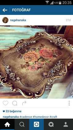 Polyester Decoupage Furniture, Decoupage Art, Decoupage Vintage, Vintage Crafts, Tole Painting, Painting On Wood, Shabby Chic Crafts, Painted Boxes, Tray Decor