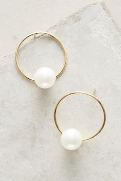 Slide View: 1: Delicate Pearl Hoop Earrings
