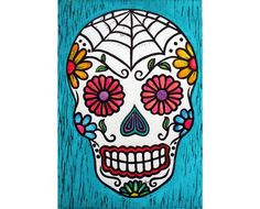 Sugar Skull Linocut Print Hand Painted - My Sugar Skulls Sugar Skull Stencil, Sugar Skull Artwork, Sugar Skull Painting, Sugar Skull Design, Sugar Skulls, Halloween Rocks, Halloween Crafts, Halloween Ideas, Compass Tattoo