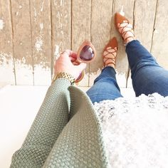 lace,denim and green cardi. Love the top of this outfit for work!