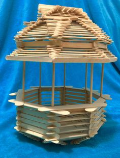 This was supposed to be a bird house but took on a different route. Popsicle House, Diy Popsicle Stick Crafts, Popsicle Stick Houses, 3d Art Projects, Small Wood Projects, Popsicle Stick Birdhouse, Diy Fairy Door, Pop Stick, Magazine Crafts