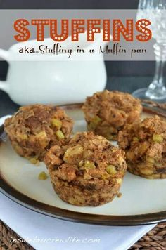 I like the idea of having mini stuffings for sale at holidays.who doesn't want more stuffing!stuffing made in a muffin pan is an easy way to serve individual stuffing at Thanksgiving Thanksgiving Recipes, Fall Recipes, Holiday Recipes, Thanksgiving Stuffing, Christmas Stuffing, Thanksgiving Appetizers, Canadian Thanksgiving, Christmas Meals, Hosting Thanksgiving