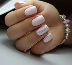 """If you're unfamiliar with nail trends and you hear the words """"coffin nails,"""" what comes to mind? It's not nails with coffins drawn on them. It's long nails with a square tip, and the look has. Easy Nails, Simple Nails, White Nails, Pink Nails, Shellac Nails, Nail Polish, Nail Nail, Nailed It, Bridal Nails"""