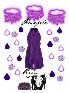 """Purple Rain|RIP Prince"" by campanellinoo on Polyvore featuring City Chic, Schutz, Chicnova Fashion, purple, music, rain and plus size clothing"