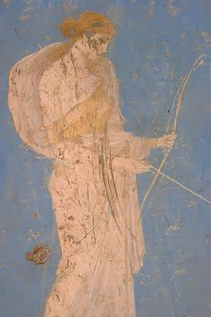 Roman fresco depicting Diana the huntress recovered from Vesuvian Ash in Stabiae 1st century BCE-1st century CE