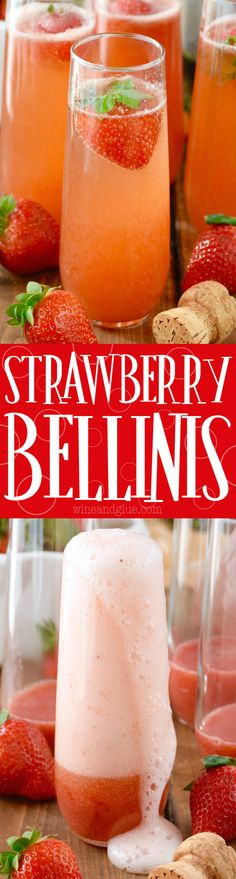 These Strawberry Bellinis are such perfect champagne cocktail for parties or brunch! These Strawberry Bellinis are such perfect champagne cocktail for parties or brunch! Brunch Au Champagne, Cocktails Champagne, Beste Cocktails, Cocktail Drinks, Cocktail Recipes, Champagne Glasses, Cocktail Desserts, Bourbon Drinks, Bellini Cocktail