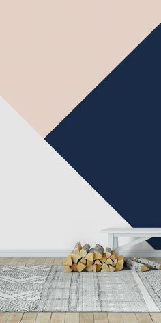 Blush Blue White Geometric 1 wall mural from happywall Geometric Wallpaper Home, Geometric Wall Paint, New Wallpaper, Room Wall Painting, Kids Room Paint, Bedroom Wall Designs, Bedroom Wall Colors, Wall Paint Patterns, Tableau Design