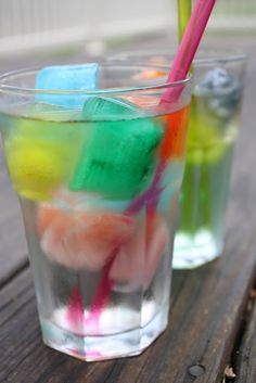 Put Kool Aid ice cubes in Sprite...such a cool idea for a kid's birthday party!- baby shower idea!!