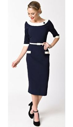 1960s Style Navy Blue & Ivory Stretch Sleeved Joelle Wiggle Dress