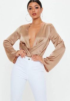 Missguided Tall Nude Satin Drape Plunge Bodysuit d4c7b5982