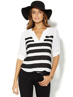 Shop Soho Soft Shirt - V-Neck Banded-Hem - Stripe. Find your perfect size online at the best price at New York & Company.