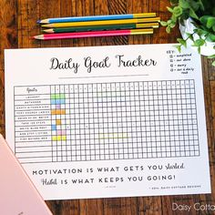 I don't know about you, but I'm always trying to improve my productivity, keep things more organized, and remember to do new tasks. This printable habit tracker (you could also call it a daily goal tracker), might be just the thing that we need. Goals Printable, Printable Planner, Free Printables, Planning And Organizing, Planner Organization, Bujo, Goal Tracking, Goal Charts, Daily Goals