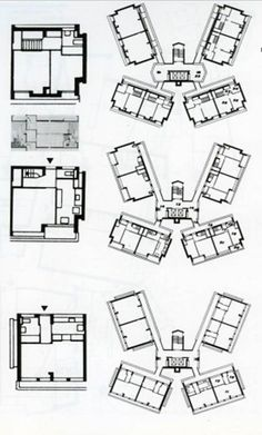 Keeling House, type floors _ Denys Lasdun & Partners _   Bethnal Green, London _ Orientation, duplex School Architecture, Beautiful Architecture, Art And Architecture, Architectural Association, Bethnal Green, Ludwig Mies Van Der Rohe, Social Housing, Home Projects, House Plans
