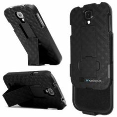 Maxboost Shell Holster Combo Protective Case for Samsung Galaxy S4 SIV with Kick-Stand Belt Clip Holster - Fits Any Version for Galaxy S4 S 4 SIV S IV includes Models for AT&T, Verizon, Sprint, T-Mobile, International Unlocked [DOES NOT FIT GALAXY S4 ACTIVE]