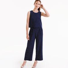 Petite silk overlay jumpsuit in polka dot