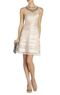 BCBG Morgane Embellished-Yoke Dress