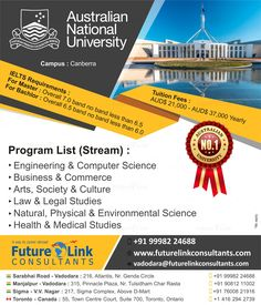 Dream to study in Australia? Then study at the Australian National University! The college is offering some jaw-dropping courses, check them out now. For more information or to apply, visit www.futurelinkconsultants.com or call +91 9998224688. #FutureLinkConsultants #studentvisa #career #studyabroad #australia Colleges In Australia, Master Of Laws, Toronto, Australian National University, Visa, Ielts, Study Abroad, Computer Science, Coaching