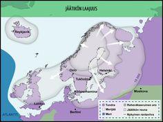 Jäätikkö eteni Skandeilta. Kartassa on kuvattu jäätikön laajuus 18 000 vuotta sitten. Huomaa, että Itämeren ja Pohjanmeren alue oli jääpeitteen alla. Ice Age, 12 Year Old, Helsinki, Ancient History, Geography, Finland, Map, Nature, Peda