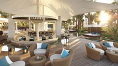 - The stylish outdoor La Baie Lounge at The Ritz-Carlton, Dubai features relaxing music, handcrafted cocktails and light fare.