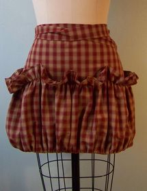Gardeners Apron in Red Ruffles.  The ruffle pokets are used when picking veggies or fruit.