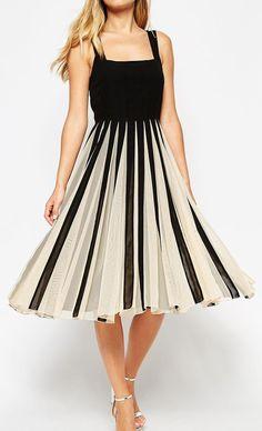 Mesh Insert Square Neck Midi Dress