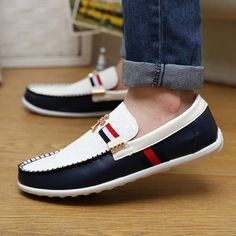 New 2014 summer autumn sneakers shoes men,designer patchwork leather loafers,fashion causal flat boat shoes Free shipping $29.92