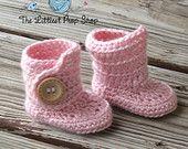 Newborn baby knit crochet button boot slippers-slipper boots-baby booties-newborn booties-baby shoes