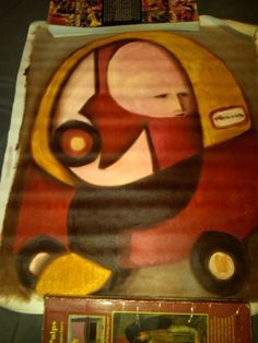 Man in Car 16x24 Abstract Cubism Painting Tommervik