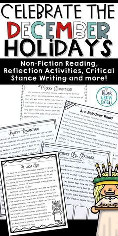 Teach your students how holidays are celebrated in different cultures and countries with this no prep pack. Nonfiction articles are included about Christmas, Hanukkah, Kwanzaa, and St. Lucia Day. Bonus nonfiction article about reindeers is also included. Writing, grammar, and math activities will keep your students engaged and learning all December long!