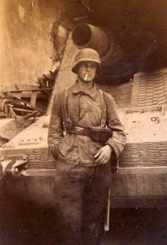 German soldier in front of a Brummbar