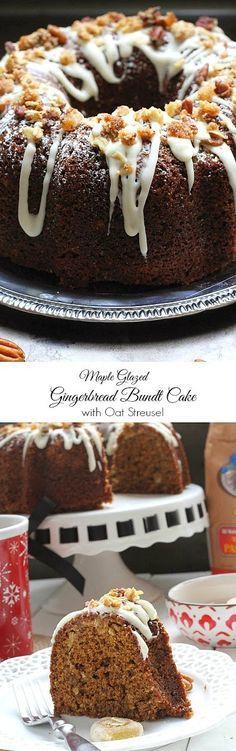 Maple Glazed Gingerbread Bundt Cake with Ginger Oat Streusel