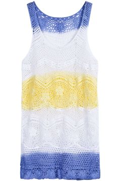 Yellow Blue White Scoop Neck Sleeveless Hollow Lace Dress US$23.77